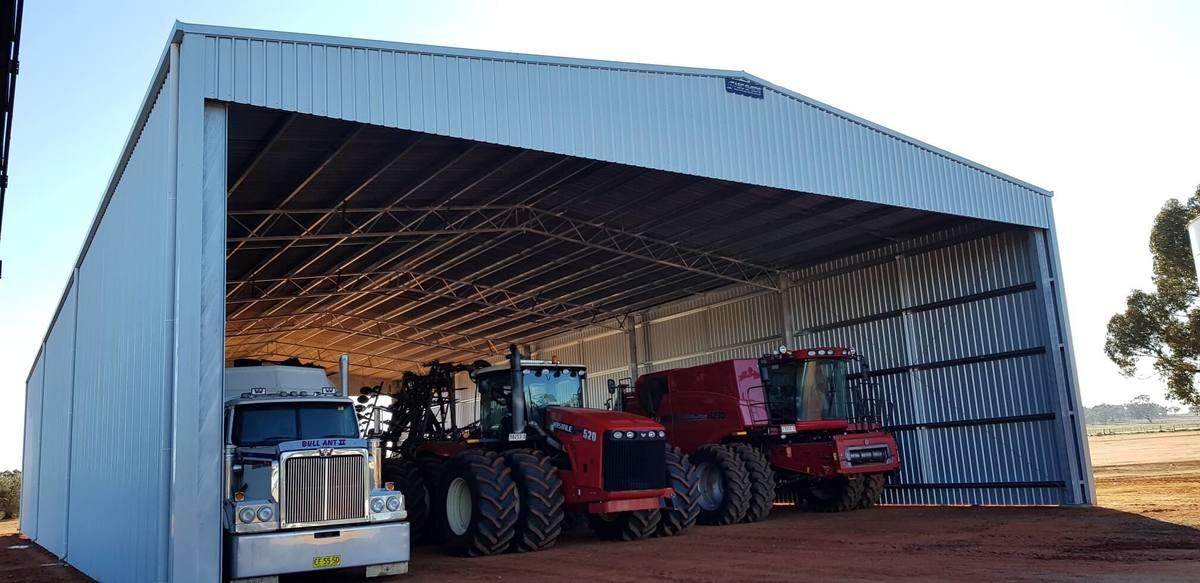 Slanted view of machinery storage shed - Beckom