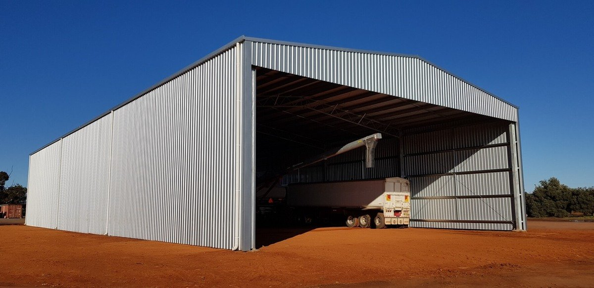 Side view of machinery storage shed - Beckom
