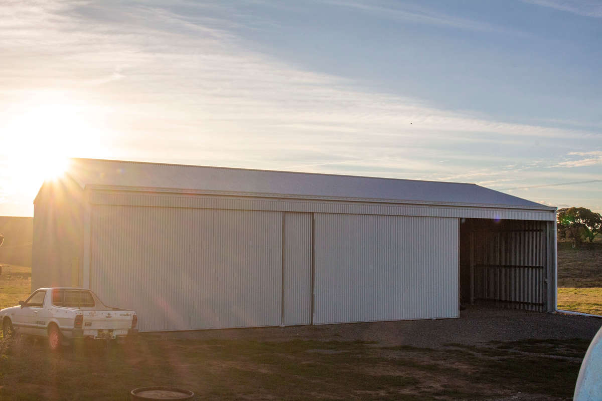 Machinery storage shed at dusk- Crookwell