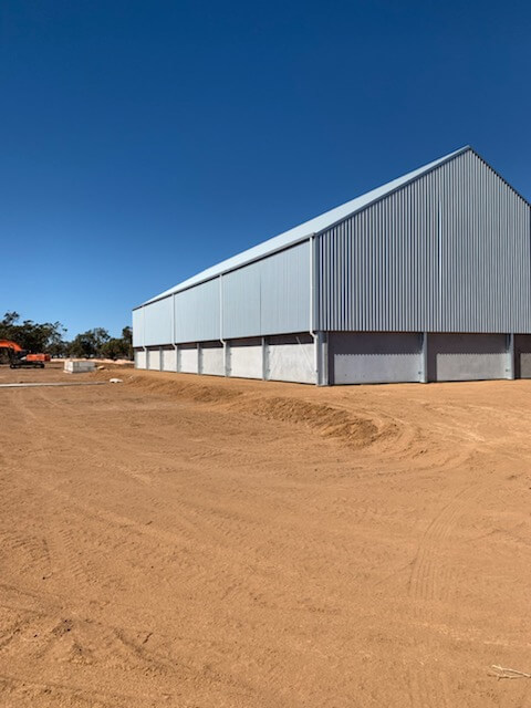Back view of grain shed in Merah North