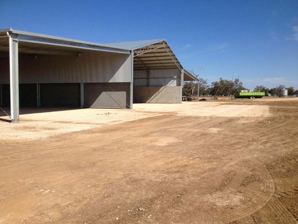 Side view of grain shed in Walgett